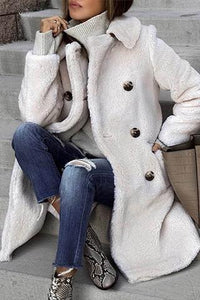 Winter Warm Solid Color Double-Breasted Long Outerwear Coat