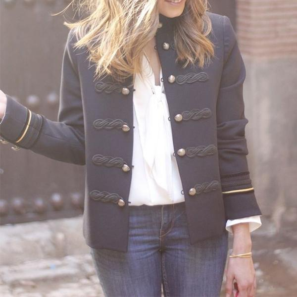 Fashion Button Solid Color Small Suit Jacket
