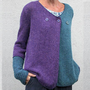 Women's casual v neck loose pure color long sleeve sweater