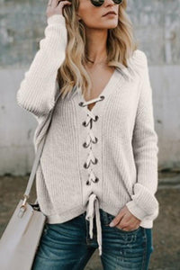 V Neck  Drawstring Plain Sweaters