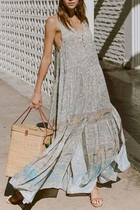 Casual V Collar Floral Printed Loose Button Maxi Dress