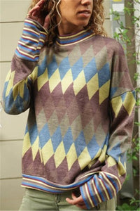 Fashion Long Sleeve Geometric Pattern Printing Hoodies Blouse