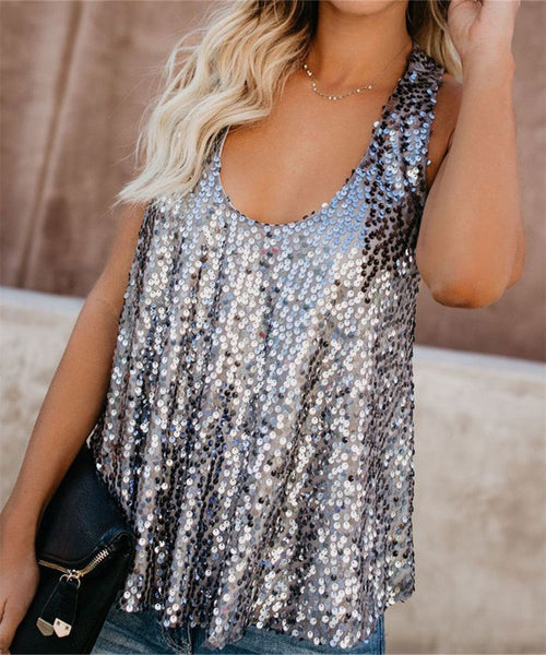Sexy U Neck Sequined Vest Blouse