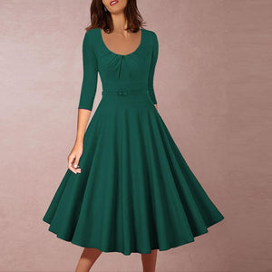 V-Neck Retro Mid-Length Dress Skater Dress