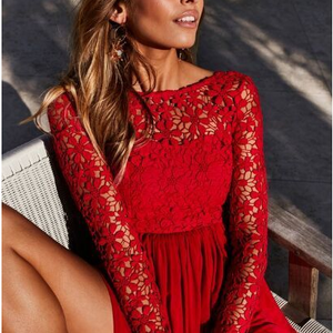 Long-Sleeved Lace-Paneled Solid Color Skater Dress