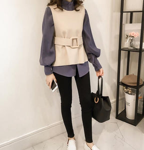 Casual Long Sleeve Shirt With Vest Two Piece Suit