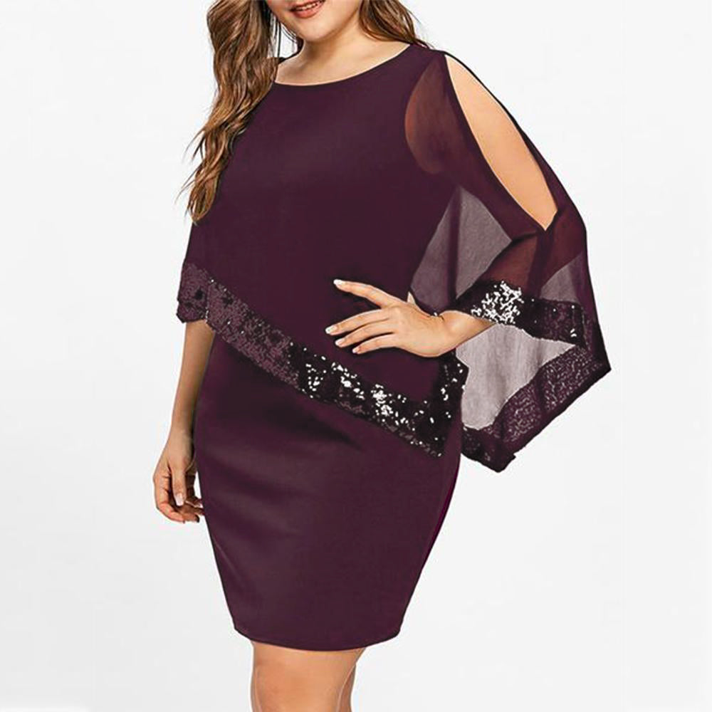 Plus Size Irregular Sequins Splicing Casual Dresses