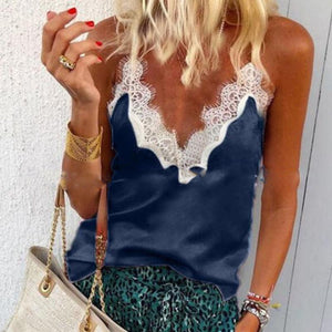 Lace Patchwork V Neck Spaghetti Straps Casual Camis Vests