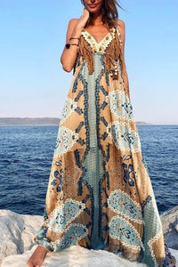 Bohemian Print Casual Vacation Sling Floral Dress