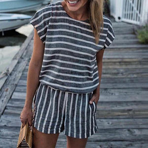 Hot Sale! (Limited Time 85% Off) Striped Short Sleeve Rompers