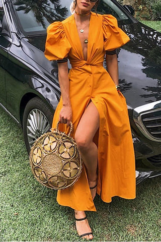 Sexy Deep V Belted Pure Colour Short Sleeve Maxi Dresses