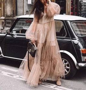 Casual Sexy Deep V Neck Grenadine Maxi Dresses