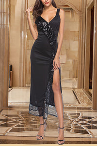 Fashion Deep V Sequins Splicing Slit Evening Dress