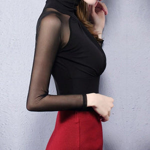 2019 Sexy Round Neck Lace Patchwork T-Shirts