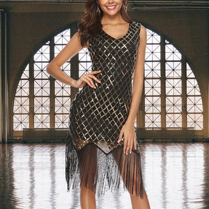Sexy Sleeveless Sequins Tassel Evening Dress