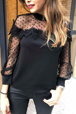 Crew Neck  See Through  Plain  Blouses