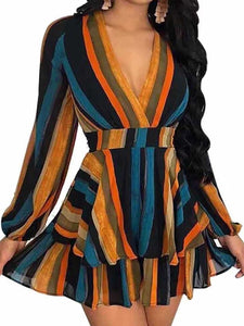 Surplice  Cascading Ruffles Contrast Stitching  Striped  Bishop Sleeve Mini Skater Dresses