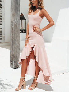 Sexy Ruffled Wide-Spreaded  Mopped Solid Color Bodycon Evening Dress