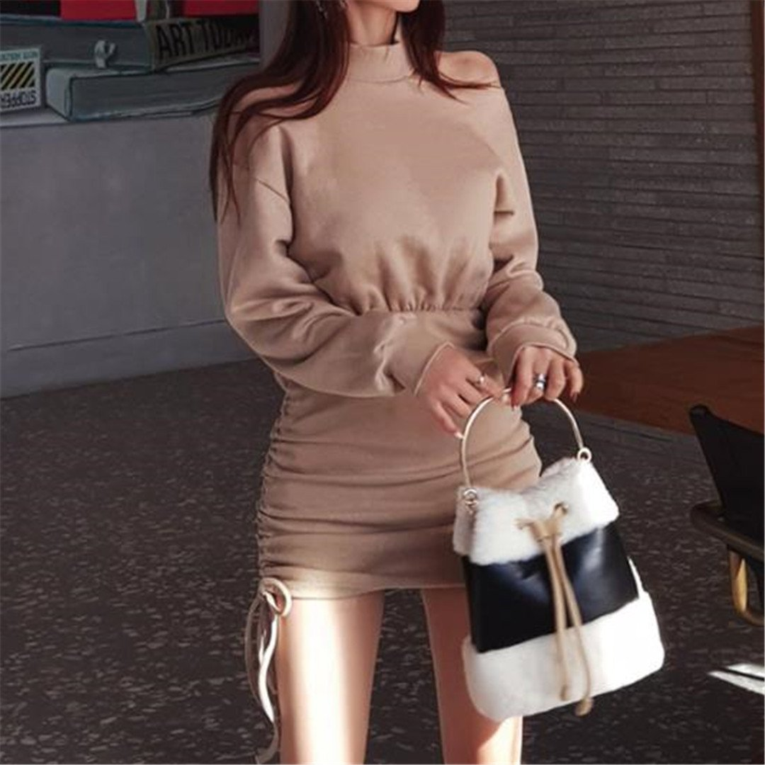 Sexy Long Sleeve Solid Color Bodycon Dress