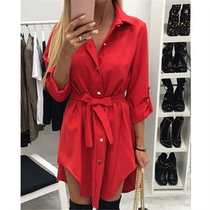 Pure Colour Long Sleeved Irregular Casual Dresses