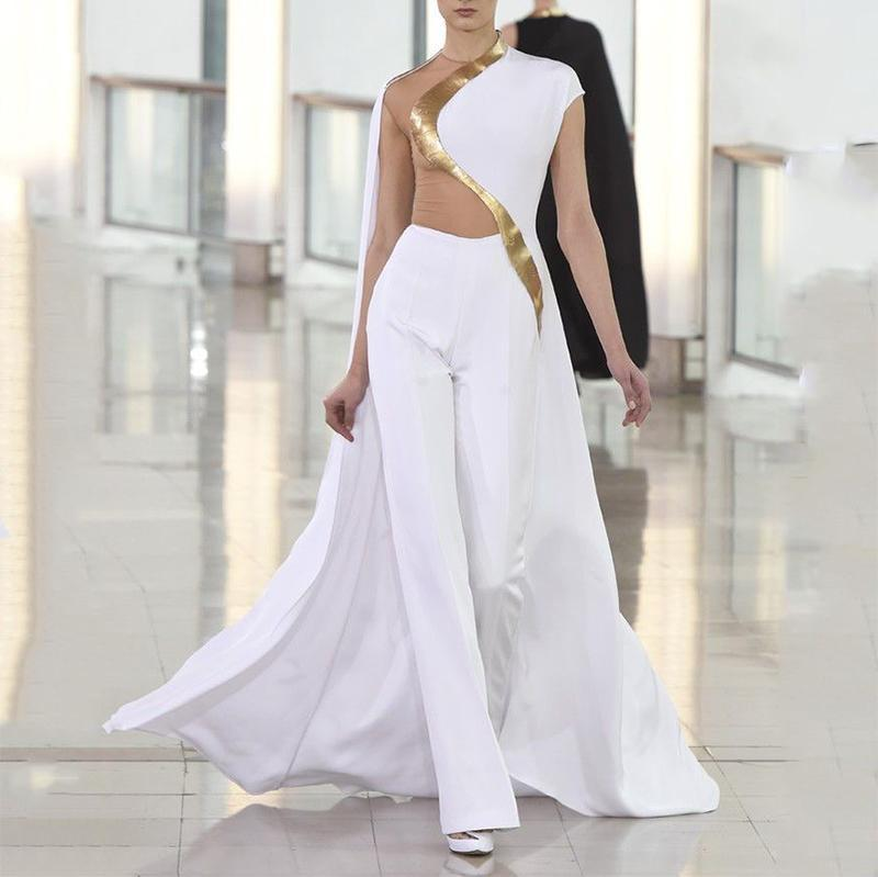 Fashion Long Cloak Off-Shoulder Suit Jumpsuit