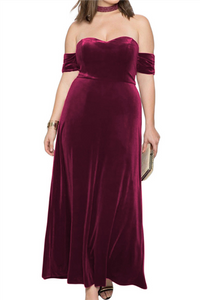 Plus Size Sexy Pure Color Velvet Off Shoulder Evening Dress