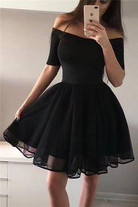 Sexy Pure Color Off-The-Shoulder Middle Sleeves Skater Dress