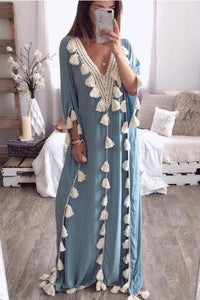 Chic V Collar Loose Fringe Decorated Vacation Maxi Casual Dress