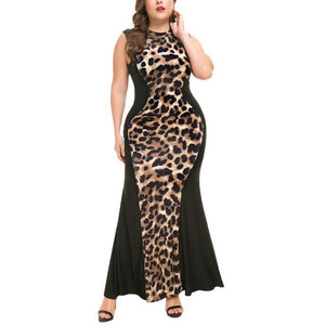 Sexy Fashion Sleeveless Leopard Print Splice Evening Maxi Dress