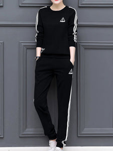 Round Neck  Contrast Trim Sweatshirt Suit Jumpsuit