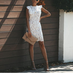 Casual Sexy Hollow Out Lace Splicing Bodycon Dresses