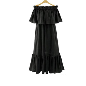 Sexy Plain Off Shoulder Ruffled Slim Evening  Dress