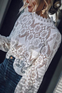 Band Collar Decorative Lace Lace Plain Blouses