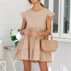 Lovely Plain Round Collar Loose Flounce Embellished Mini Dress