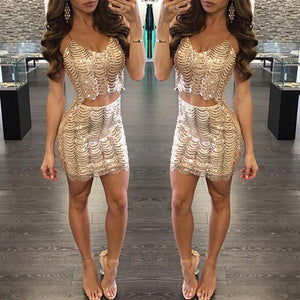 Sexy Sequins Wave Fish Scales Sling Mini Bodycon Dresses