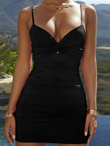 Sexy Deep V Pure Colour Hollow Out Mini Bodycon Dresses
