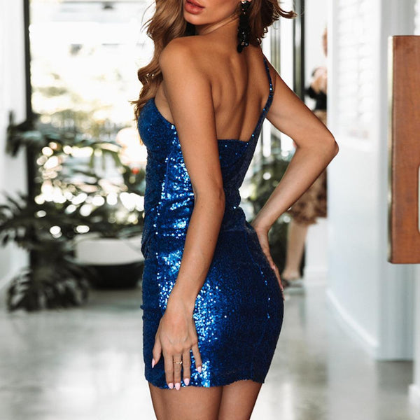 Casual Sexy One Shoulder Off The Shoulder Sequins Mini Bodycon Dresses