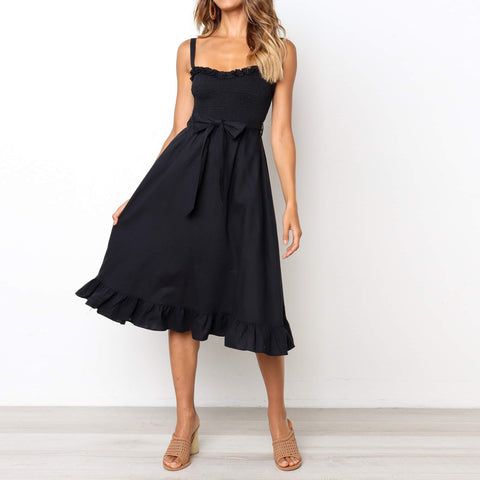 Sexy Wrapped Chest Sling Strap Waist Bow Skater Vacation  Dress