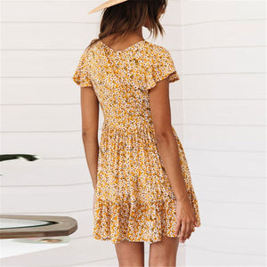 Summer Floral Printed V Collar Button Embellished Vacation Mini  Dress