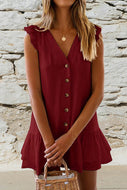 V-Neck Button Ruffled Mini Casual Dress