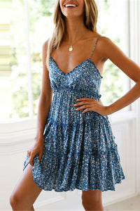 Summer Floral Printed Defined Waist Blue Vacation Mini Dress