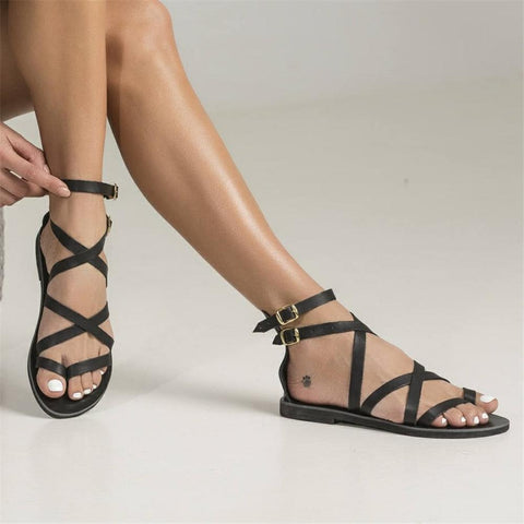 Simple Pin Toe   Flat Buckle With Sandals