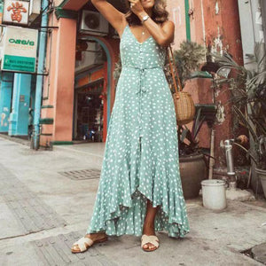 Fashion Sex Sleeveless Vacation Point Printed Maxi Dress
