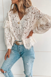 Casual Sexy Deep V   Neck Hollow Out Lace Blouse