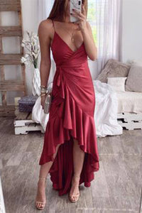 Sexy Spaghetti Strap High-Low Hem Ruffle Evening Dress