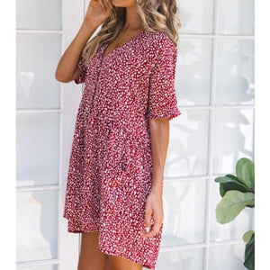Stylish Sexy Printed Short Sleeves Vacation Dress