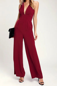 High Waist V Collar Open Back Pure Color Conjoined Broad Leg Trousers Jumpsuits