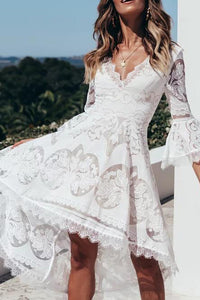 Sexy Lace Bell Sleeve V Neck Beach Vacation Dresses