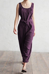 Casual Sleeveless Pure Colour High-Waist Jumpsuits