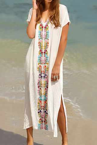 Bohemian Pleated Printed Colour Slit Vacation Dress